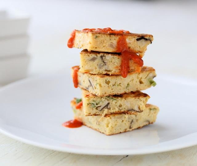 Teriyaki Tempeh - Cauliflower Shiitake Chickpea pancakes